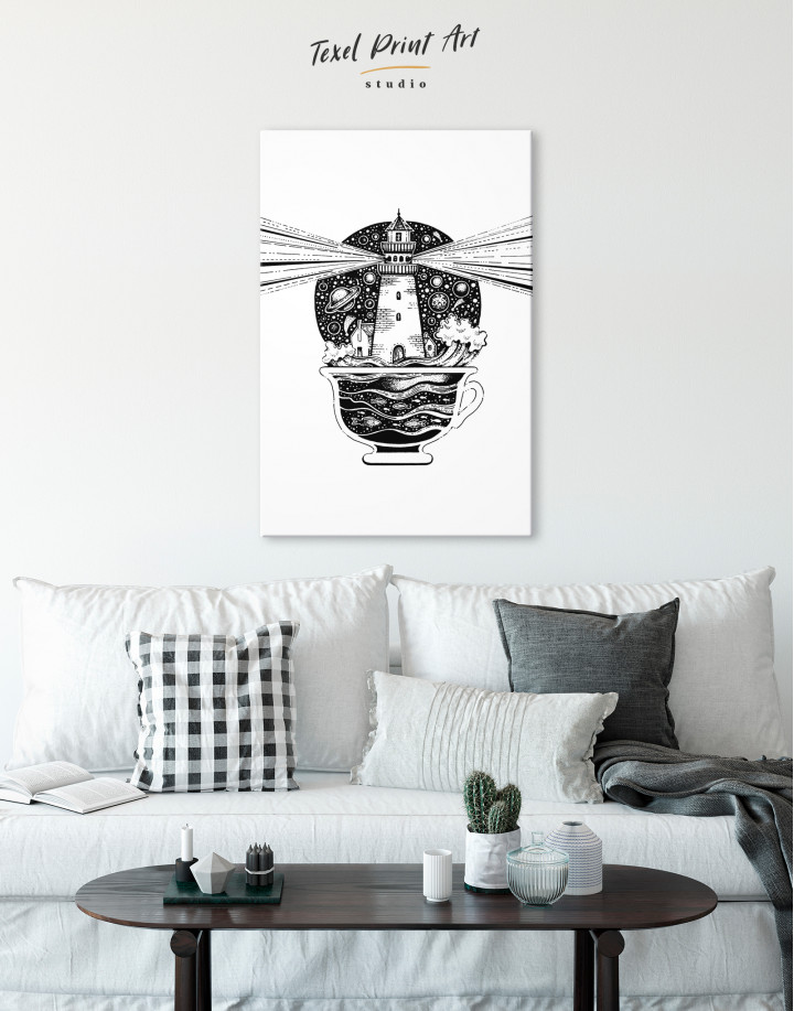 Black and White Abstract Lighthouse Canvas Wall Art - Image 3