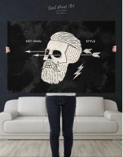 Black and White Barber Skull Canvas Wall Art - Image 8