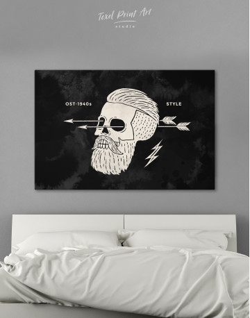 Black and White Barber Skull Canvas Wall Art - image 4