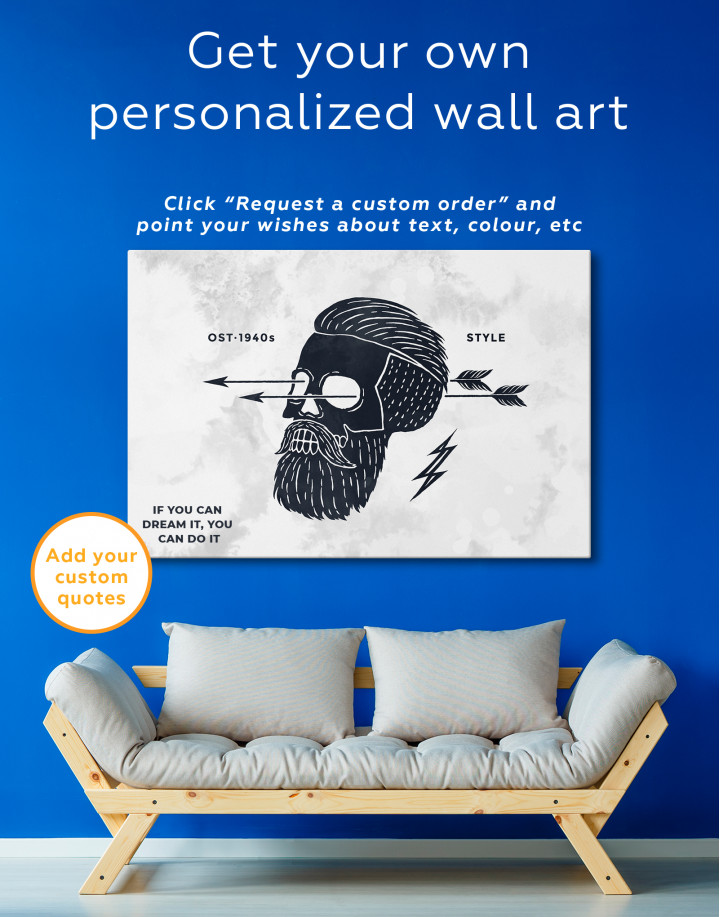 Black and White Barber Skull Canvas Wall Art - Image 3