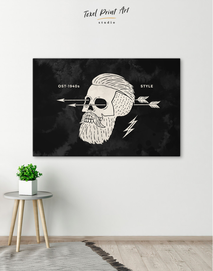 Black and White Barber Skull Canvas Wall Art