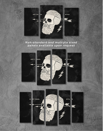 Black and White Barber Skull Canvas Wall Art - image 5