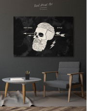 Black and White Barber Skull Canvas Wall Art - Image 7
