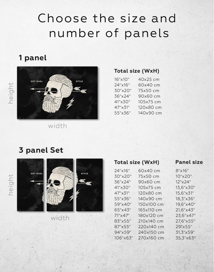 Black and White Barber Skull Canvas Wall Art - Image 2