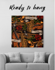 Musical Instruments with Roses Canvas Wall Art - Image 1