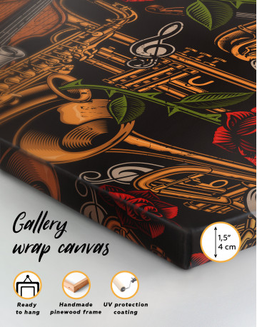 Musical Instruments with Roses Canvas Wall Art - image 3