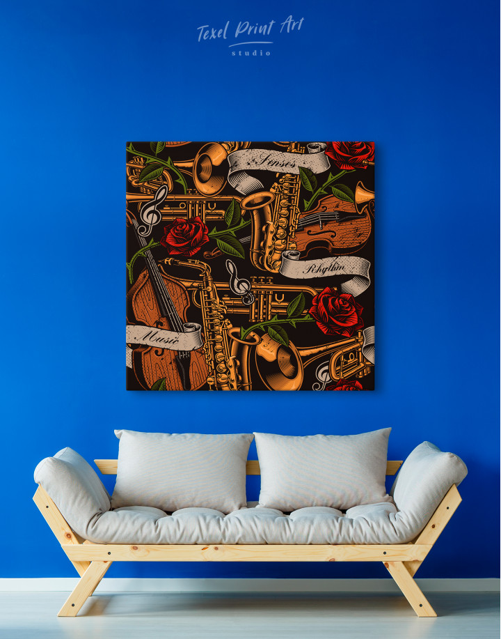 Musical Instruments with Roses Canvas Wall Art - Image 4