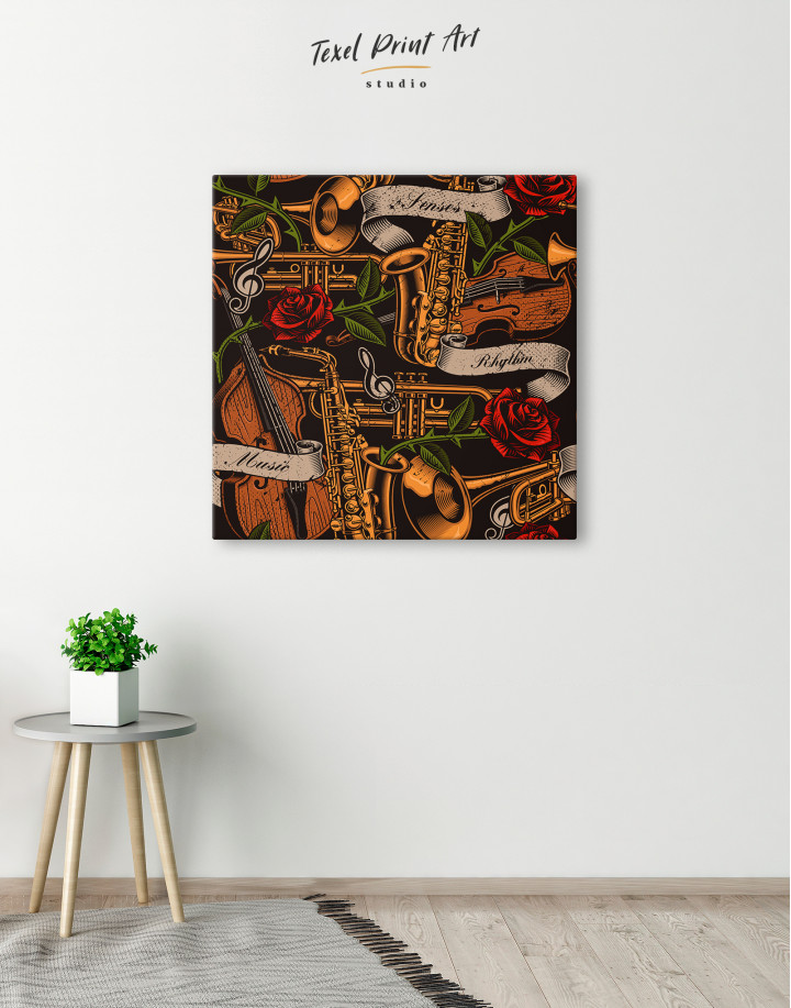 Musical Instruments with Roses Canvas Wall Art