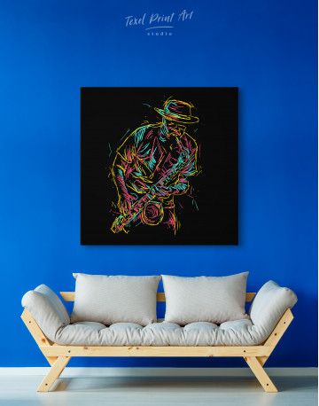 Abstract Jazz Saxophone Player Canvas Wall Art - image 4