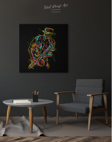 Abstract Jazz Saxophone Player Canvas Wall Art - image 1