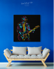 Abstract Guitar Player Canvas Wall Art - Image 4