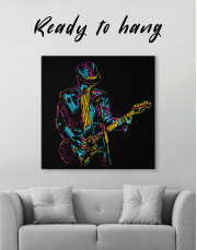 Abstract Guitar Player Canvas Wall Art