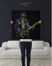 Abstract Guitar Player Canvas Wall Art - Image 6