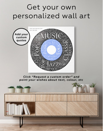 Vinyl Record With Music Styles Canvas Wall Art - image 2