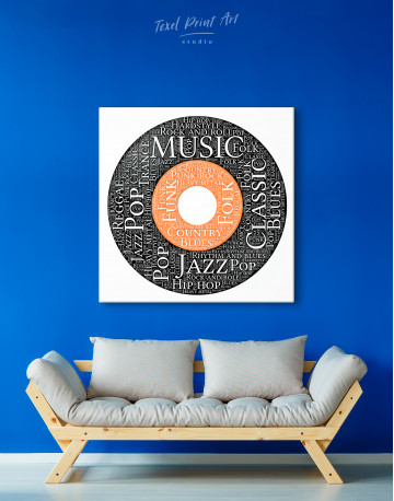 Vinyl Record With Music Styles Canvas Wall Art - image 3