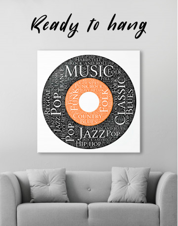 Vinyl Record With Music Styles Canvas Wall Art