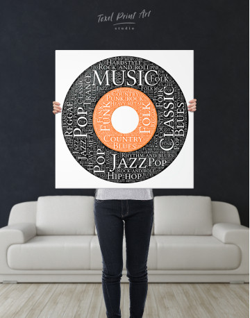 Vinyl Record With Music Styles Canvas Wall Art - image 6