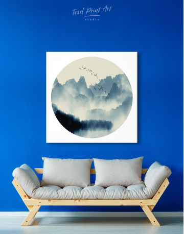Blue Abstract Chinese Landscape Painting Canvas Wall Art - image 1