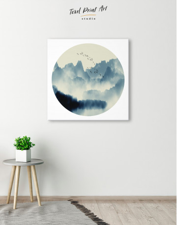 Blue Abstract Chinese Landscape Painting Canvas Wall Art - image 3