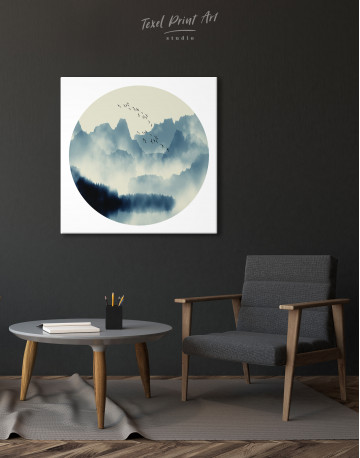 Blue Abstract Chinese Landscape Painting Canvas Wall Art - image 4
