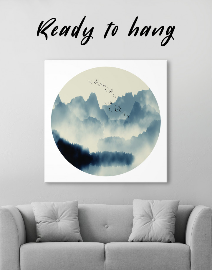 Blue Abstract Chinese Landscape Painting Canvas Wall Art