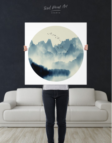 Blue Abstract Chinese Landscape Painting Canvas Wall Art - image 6