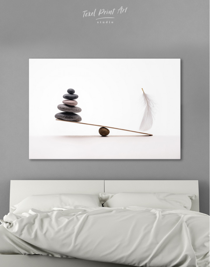 Stone And Feather Balance Canvas Wall Art
