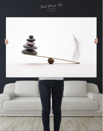 Stone And Feather Balance Canvas Wall Art - image 1
