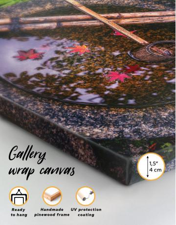 Autumn Leaf Floating In Birdbath Canvas Wall Art - image 2