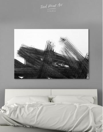 Black Abstract Brush Stroke Paint Canvas Wall Art