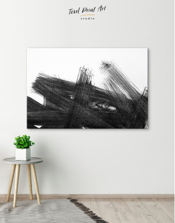 Black Abstract Brush Stroke Paint Canvas Wall Art - image 6