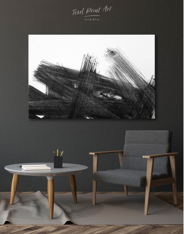 Black Abstract Brush Stroke Paint Canvas Wall Art - image 4