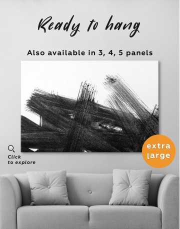 Black Abstract Brush Stroke Paint Canvas Wall Art - image 3