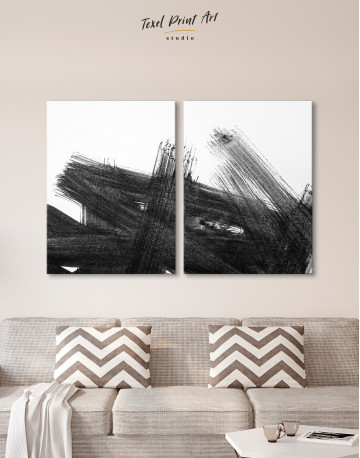 Black Abstract Brush Stroke Paint Canvas Wall Art - image 10