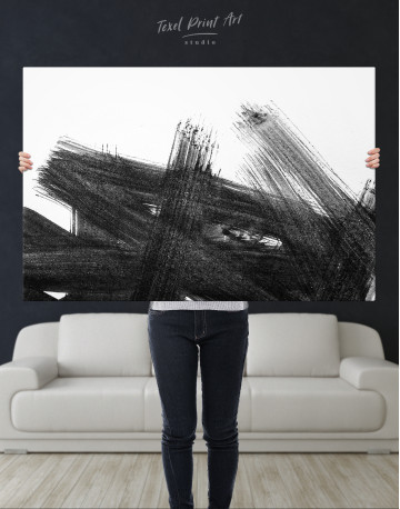 Black Abstract Brush Stroke Paint Canvas Wall Art - image 9