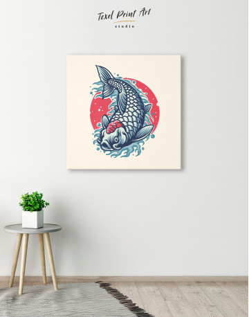 Japanese Carp Painting Canvas Wall Art - image 2