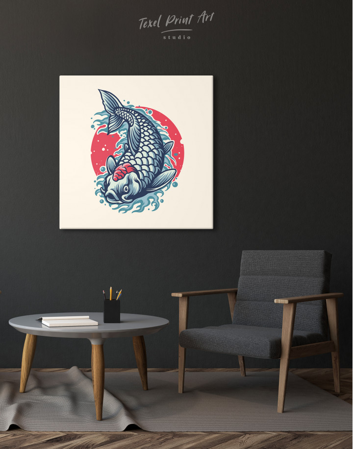Japanese Carp Painting Canvas Wall Art - Image 1