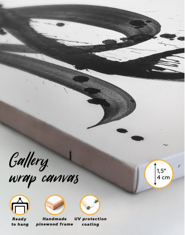 Black Brush Strokes Splashes Canvas Wall Art - image 2