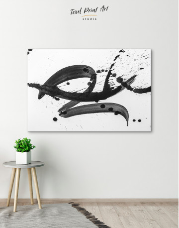 Black Brush Strokes Splashes Canvas Wall Art - image 4