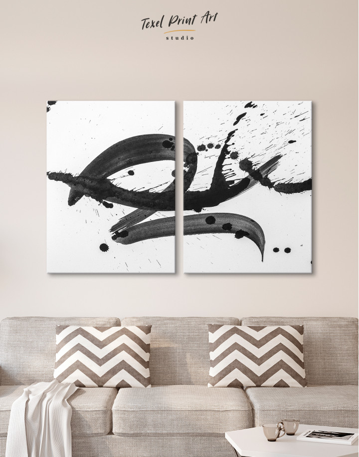 Black Brush Strokes Splashes Canvas Wall Art - Image 9