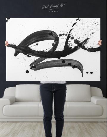Black Brush Strokes Splashes Canvas Wall Art - image 1