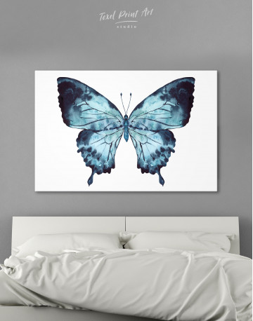 Indigo Watercolor Butterfly Canvas Wall Art