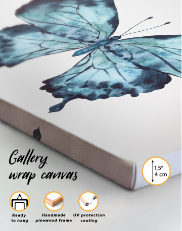 Indigo Watercolor Butterfly Canvas Wall Art - image 1