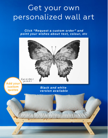 Indigo Watercolor Butterfly Canvas Wall Art - image 2