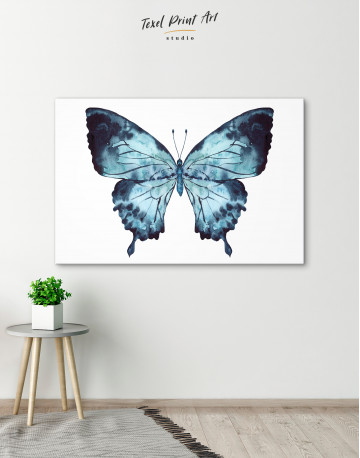 Indigo Watercolor Butterfly Canvas Wall Art - image 3