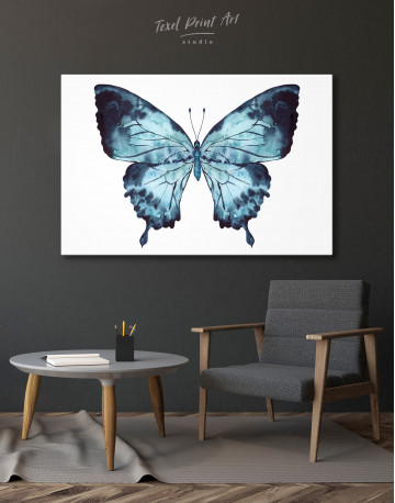 Indigo Watercolor Butterfly Canvas Wall Art - image 4
