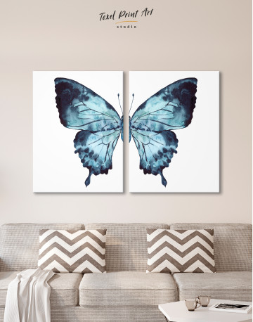 Indigo Watercolor Butterfly Canvas Wall Art - image 9