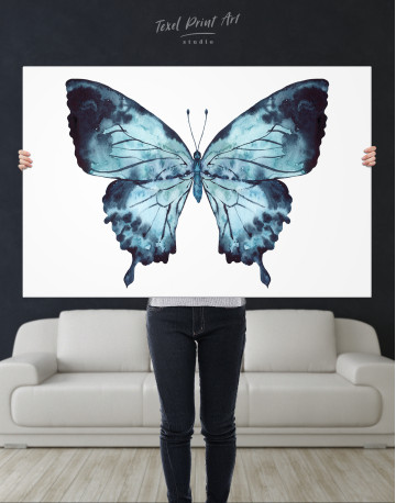 Indigo Watercolor Butterfly Canvas Wall Art - image 8