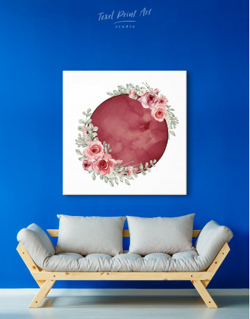Red Moon with Flower Canvas Wall Art - image 2