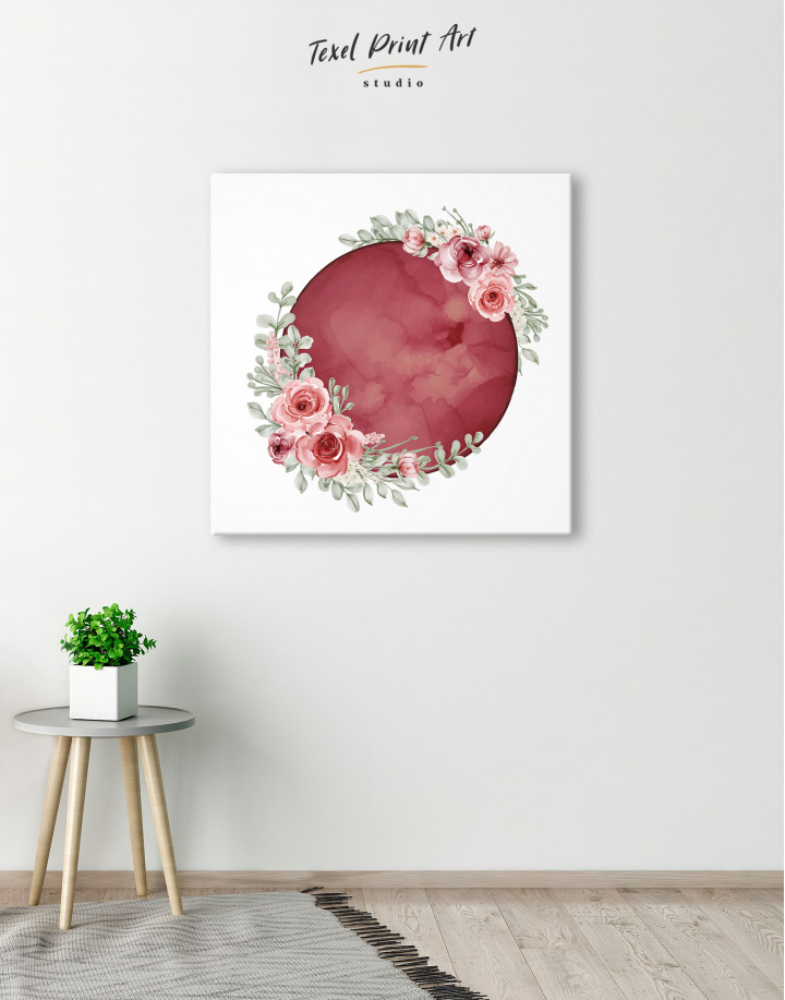 Red Moon with Flower Canvas Wall Art - Image 1